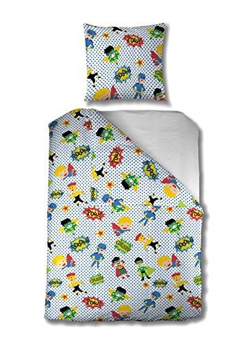 twäsche 135x200 cm Kinder Jungen Superhelden Baumwolle Reißverschluss Blau Grün Gelb Rot Held Comic Cartoon Punkte Kinderbettwäsche 2-teiliges Bettwäscheset Jungs Bettbezug Ganzjahr (Grüne Superhelden)