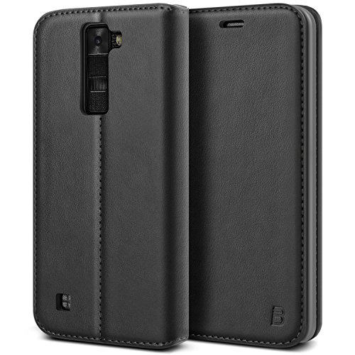 BEZ® LG K8 Hülle, Handyhülle Kompatibel für LG K8 Tasche, Flip Case Cover Schutzhüllen aus Klappetui mit Kreditkartenhaltern, Ständer, Magnetverschluss, Schwarz