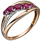 JOBO Damen Ring 585 Gold Rotgold 5 Rubine rot 16 Diamanten Brillanten Rubinring Größe 58
