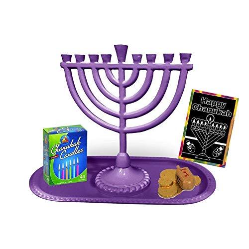 Judaica Unlimted Kinder Komplett Menora Paket in 5Farben Grün Violett