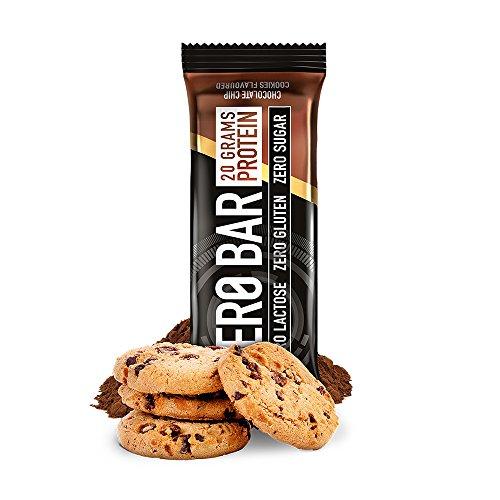 BiotechUSA ZERO Bar 20*50g Schoko-Chip Cookies - Eines der besten Proteinriegel - 45% Protein, 0% Zucker, Laktosefrei, Glutenfrei. Sportriegel mit Stevia. …