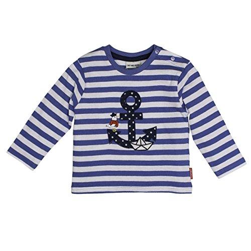 SALT AND PEPPER SALT AND PEPPER Baby-Jungen Langarmshirt B Longsleeve Pirat Stripe Blau (Blue Melange 448) 68
