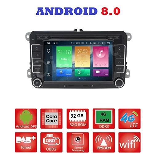 ANDROID 8.0 GPS DVD USB SD WI-FI Bluetooth autoradio 2 DIN navigatore compatibile con Golf 6 / Golf 5 / Passat/Jetta/Polo/Tiguan/Touran/Caddy/Sharan