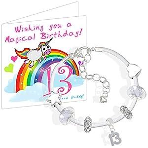Geschenk-Set zum 13. Geburtstag für Mädchen inkl. Leder-Bettelarmband und Einhorn-Geburtstagskarte mit Geschenkbox