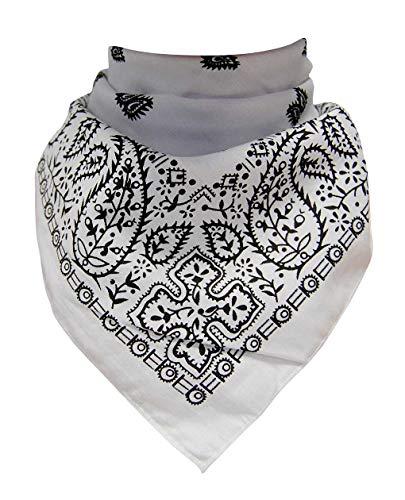 Doktor Hardstuff Trendy XL Bandana Paisley Weiß Schwarz (Weiß Schwarz & Paisley)