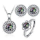 AnazoZ 1 Schmuckset Ohrringe Ring Halskette mit Anhänger, Bunt Zirkonia Steinchen für Damen Hochzeitsschmuck inkl. Geschenkbox Gr. 57 (18.1)