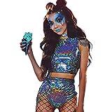 Sallypan Rave Outfit für Frauen, 2-teilig, glänzendes Festival Crop Top & Booty Shorts Unterteile Metallic Holographic Rainbow Outfits,L