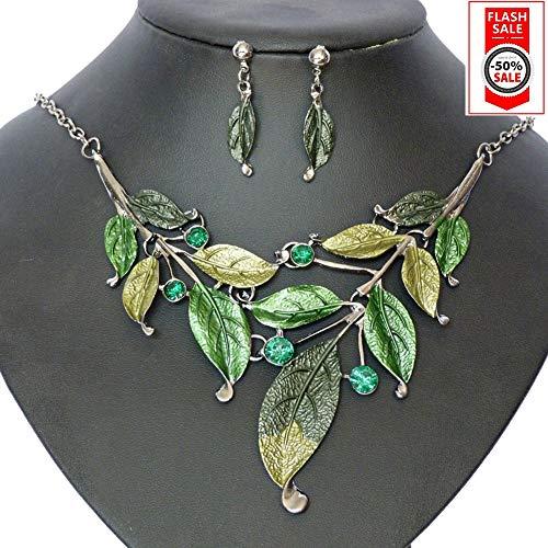 SevenAndEight S&E Frauen Blatt Halskette & Ohrring Set Kette mit Ohrstecker Modeschmuck Schmuck Set
