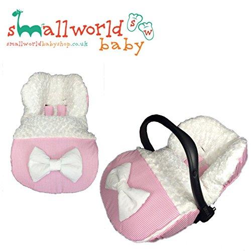 personalisierbar Pink Streifen und Kunstfell Baby Autositz Fußsack