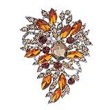 Grande Goutte d'Eau Broche Brillante Entièrement Orné de Strass Bijoux Broches pour Cadeau de Femme - Brun