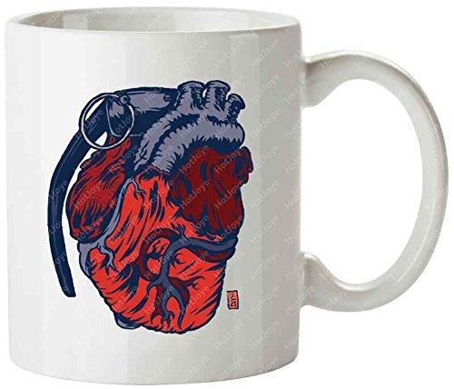Hear Of Fear Illustration Symbol Grenade Heart Tea Cups Mug(Tazzine da caffè) Cup