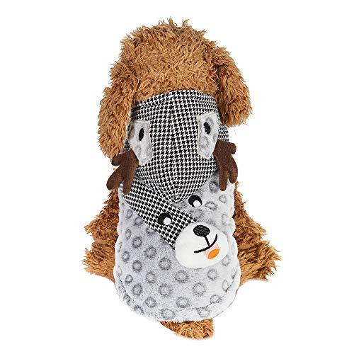 Amphia Haustier Kostüm - Elch verkleiden Sich,Weihnachten Hund Welpen Hoodie Pullover Fleece warme Kleidung Elk Dress Up(Grau,L)