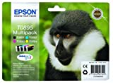 4 Original Epson Druckerpatronen T0895 Multipack (black/cyan/yellow/magenta) für Epson Stylus SX100 SX105 SX110 SX115 SX200 SX205 Tintenpatronen incl. 10 Blatt Photopapier 10x15cm (240g/m²)