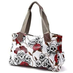 Skull rose print Oilcloth cotton web handle faux leather trim Women Shoulder bag school bag (white)