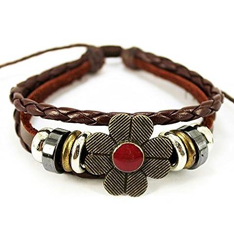Véritable Spark (TM) Femme Vintage Cuir tressé Trèfle à quatre feuilles Pendentif Perles Wrap Bracelet réglable