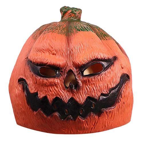 ror Kürbis Maske aus Latex Kopfbedeckung Ghost Cosplay Mask Glow Scary EL Draht Light up Masken Halloween Pumpkin Marks ()