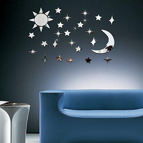 ufengke 3D Sonne Mond Sterne Spiegeleffekt Wandaufkleber Modedesign Kunst-Abziehbilder Hauptdekoration Silber - Mond Sonne Badezimmer Und Sterne