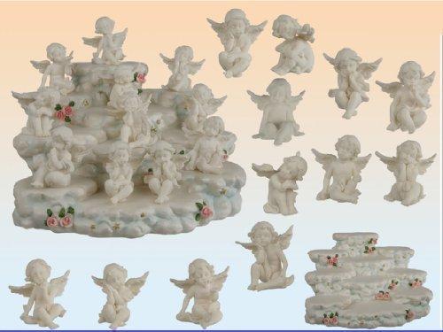 Bomboniera angelo angioletto seduto in resina bianca set 6 pezzi