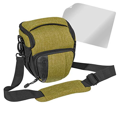 PEDEA DSLR-Kameratasche 'Fashion' mit Displayschutzfolie für Canon EOS 5D 5D Mark II 400D 2000D / Nikon D60 D80 D90 D3100 D3200 D3300 D3400 D5300 D7100 / Pentax K 30 K 50 K 500, Gr. M grün