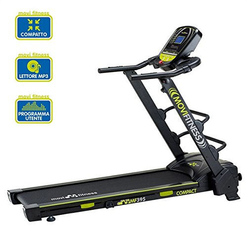 Movi Fitness MF395, Tapis Roulant Salvaspazio Unisex - Adulto, Nero/Verde, 170 x 72 x 135 cm