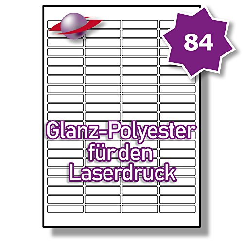 84 Pro Blatt, 5 Blätter, 420 Etiketten. Label Planet® A4 Glänzend Transparente Polyester Etiketten Für Laserdrucker 46 x 11.1mm, LP84/46 GTP.