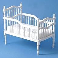Struttura di Legno Bianca per Lettino da Bambini Vittoriano per Casa delle Bambole 5546W