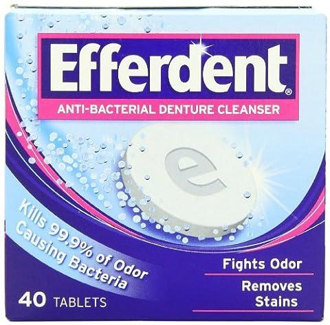 Efferdent Comprimés nettoyants antibactériens effervescents pour dentier - 40/paquet