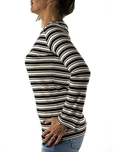 T-Shirt Scollo Barca NENETTE a Righe Nere MainApps Nero