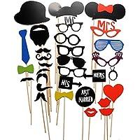 Miryo-31pcs Juego de Accesorios de Photocalls Máscaras Disfraces para Boda Festival Fiesta DIY bigote