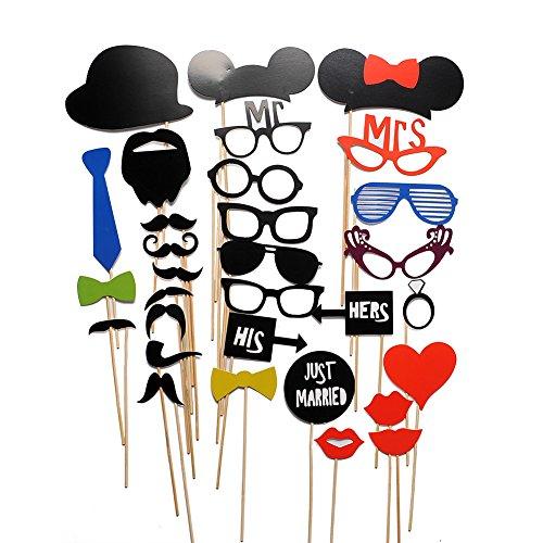 Miryo-31pcs Juego de Accesorios de Photocalls Máscaras Disfraces para Boda Festival Fiesta DIY bigote gafas boca corbata Familia Navidad