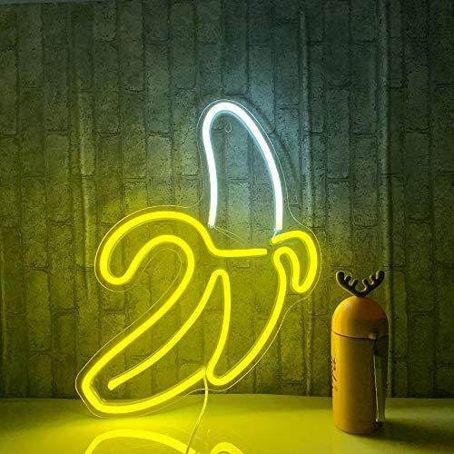 Plátano Letreros de neón Luces de neón LED Arte Luces de pared decorativas Luces de neón para la pared del sitio Fiesta de cumpleaños Decoración de la barra 11''x19.7 '' (amarillo cálido)