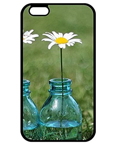 Coque,Best Holiday Gifts Flowers in bottle Noir Print With Hard Shell Case for Coque iphone 6 Plus/Coque iphone 6s Plus,Cas De Téléphone