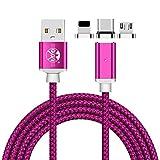 Magnétique USB Type C Micro USB C Lightning Câble 3 en 1 Cordon de charge 3.3ft / 6.6ft Angle droit Charge rapide et synchronisation de données pour téléphones et tablettes iPhone Android Charger