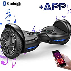 "EverCross Diablo Patinete Eléctrico Scooter Hover Board LED Talla 6.5"" App&Bluetooth (Negro)"