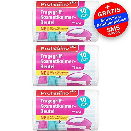 Kosmetikeimer Müllbeutel mit Tragegriff - 10 Liter - 225 Stück (3x75) - Reißfest &...