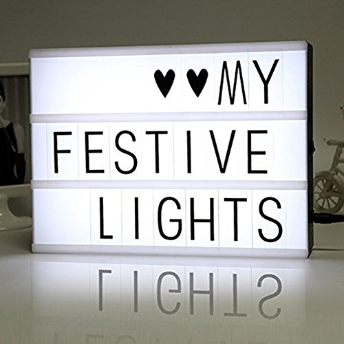 BEECOCO Light Box A4, Lightbox luminosa, Cinematografica Lampada con 90 Lettere nere e Simboli, Accendi La Tua Vita Guidata