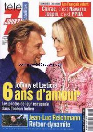 TELE 7 JOURS [No 2128] du 10/03/2001 - JOHNNY ET LAETICIA - JEAN-LUC REICHMANN.