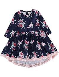 Bibao Vestido de Encaje Estampado Floral para niños de 1 a 5 años de Edad, Vestido de Fiesta Plisado Azul Oscuro…
