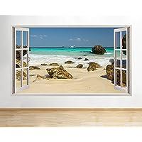 b155 Sand Sea Ocean Rocks boat Scenic View Wall Decal Poster 3D art Stickers Vin (Medium (52x30cm))