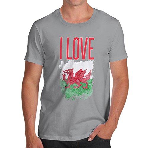 Herren I Love Wales T-Shirt Grau