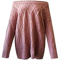 Mujeres Tops Rovinci Mujeres Cómodas Casual Moda Otoño Manga Larga Sexy Manga Larga de Hombro Suelto Cable Suéter de Punto Suéter Blusa S-XL