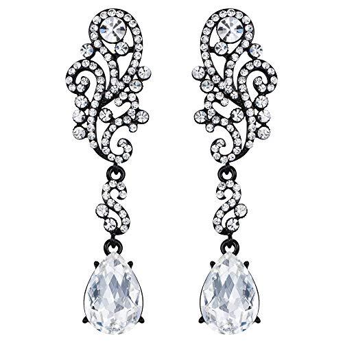 Clearine Damen Ohrringe Hochzeit Braut für Frauen Crystal Floral Scroll Kronleuchter Ohrhänger Ohrstecker Ohr Schmuck Klar Schwarz-Ton -