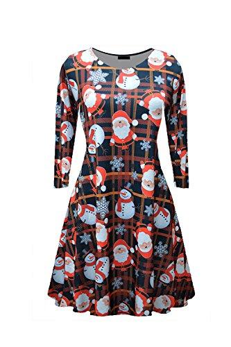 Les Femmes Des Motifs Floraux Swing Drapée Décolleté Hiver Robe De Noël Orange