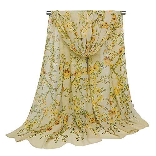 CWLLWC Schal, Damen Mode Chiffon Schal Schal gefalteten dünnen Schal Seidenschal floral Seide Schal mit Print -