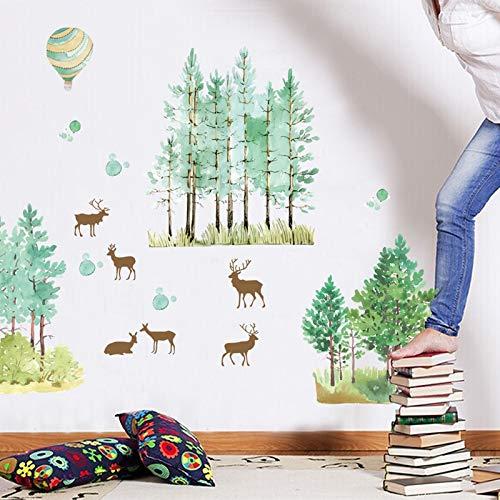 AWGSQ Wandaufkleber Niedlichen Tier Leben DIY Elch Grünen Baum Wandaufkleber Wohnkultur Dschungel Wald Thema Tapete Geschenk Für Kinderzimmer Dekor