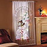 21sandwhick Tenda di Natale, Luce Pupazzo di Neve Tenda Soggiorno Camera da Letto Drappo Decorazioni Natalizie per La Casa Senza Luce
