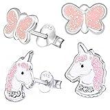 2 Paar Kristall Einhorn + Glitzer Schmetterling Ohrstecker 925 Echt Silber Mädchen Kinder Ohrringe