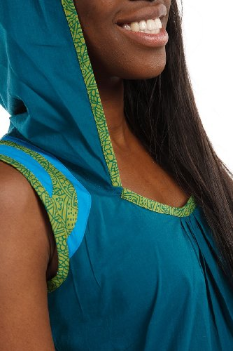 Tunique robe ethnique fronce capuche ron - Bleu