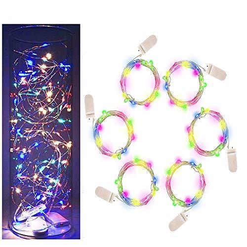 Schnur-Licht-Batterie-Schnur-Licht-6packs RGB 20LED RGB-LED-Fee-Schnur-Lichter auf 7ft Kupferdraht-Lichter für DIY Dekoration Kostüm Hochzeit Valentines Feiertags-Party-Lichter