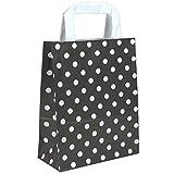 250 Papiertragetaschen in Grösse 18 + 08 x 22 cm aus Kraftpapier und flachen Griffen Farbe Schwarz Motiv Punkte